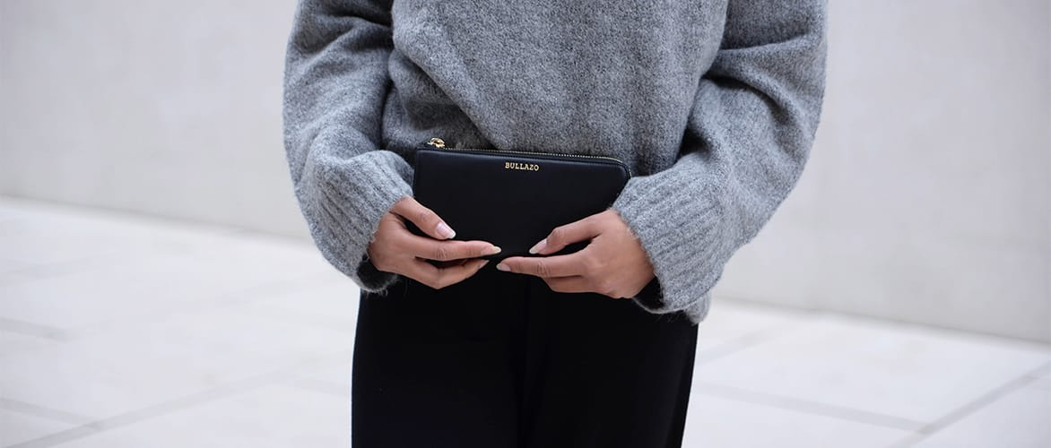 Damen Portemonnaie grau schwarz
