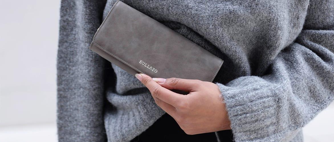 Großes Damen Portemonnaie aus Leder in Grau
