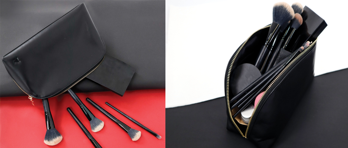 cosmeticbag makeup pouch leather travelbag
